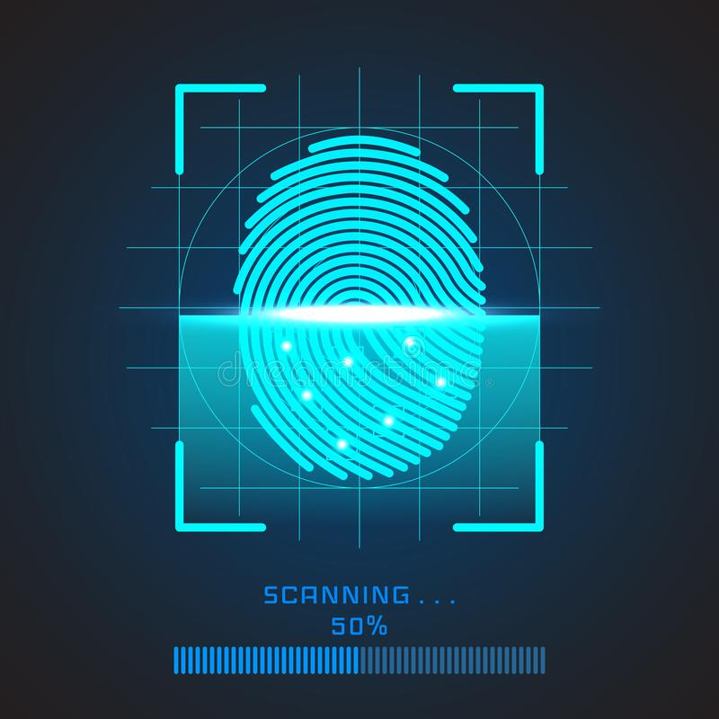 Sistema de identificação da exploração da impressão digital Conceito biométrico da segurança da autorização e do negócio Ilustraç ilustração royalty free