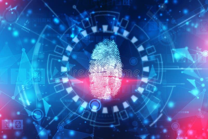 Sistema de identificação da exploração da impressão digital Conceito biométrico da segurança da autorização e do negócio imagens de stock