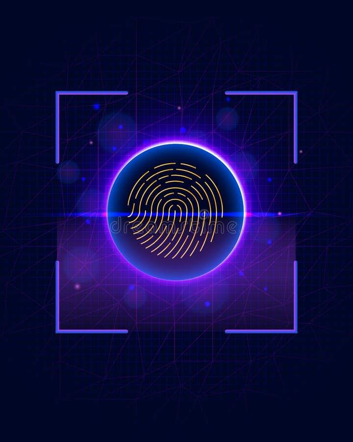 Sistema de identificação da exploração da impressão digital Conceito biométrico da segurança da autorização e do negócio ilustração stock