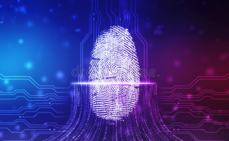 Sistema de identificação de digitalização por impressões digitais Conceito biométrico de autorização e segurança comercial ilustração royalty free