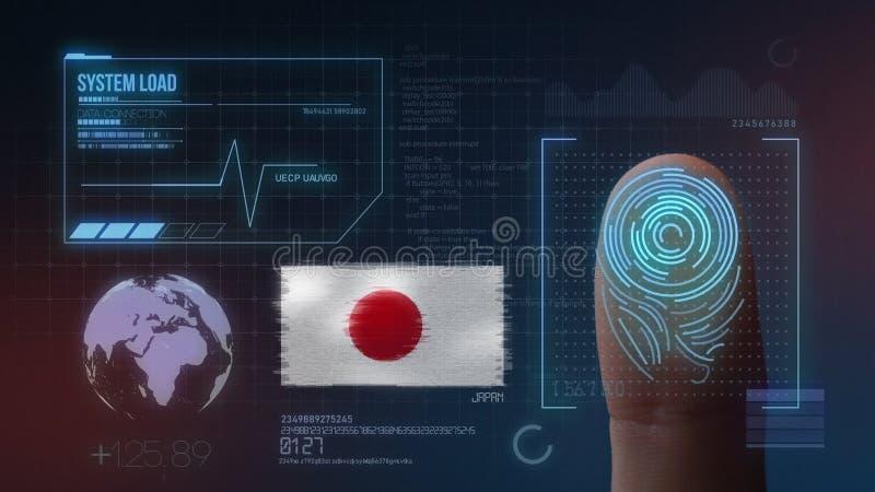 Sistema de identificação de varredura biométrico da impressão digital Nacionalidade de Japão foto de stock royalty free
