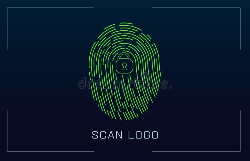 Sistema de identificação de varredura da impressão digital no estilo futurista de HUD Relação biométrica Reconhecimento biométric ilustração do vetor