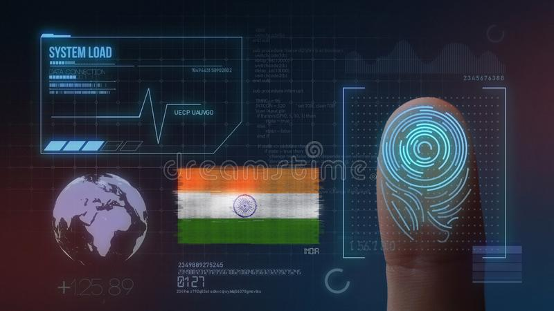 Sistema de identificación de exploración biométrico de la huella dactilar Nacionalidad de la India ilustración del vector