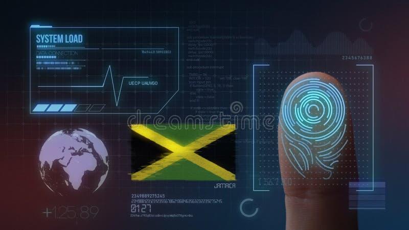 Sistema de identificación de exploración biométrico de la huella dactilar Nacionalidad de Jamaica ilustración del vector