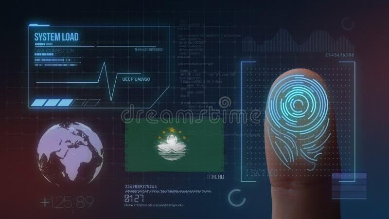 Sistema de identificación de exploración biométrico de la huella dactilar Nacionalidad de Macao imagen de archivo libre de regalías