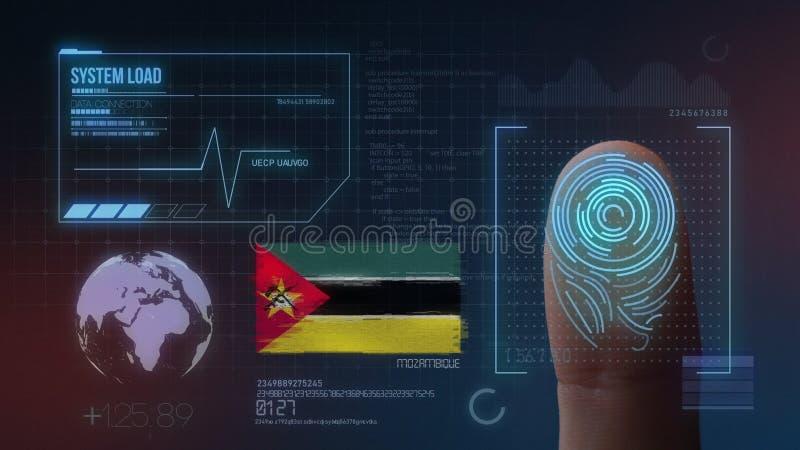 Sistema de identificación de exploración biométrico de la huella dactilar Nacionalidad de Mozambique foto de archivo