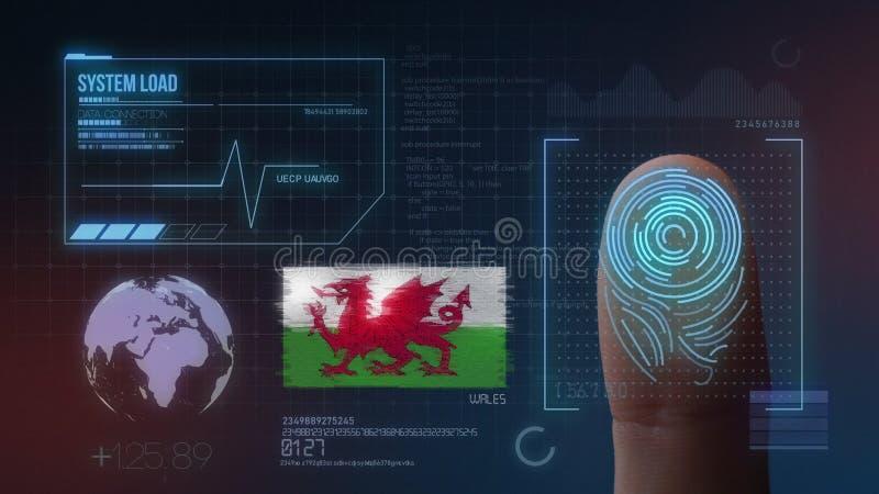 Sistema de identificación de exploración biométrico de la huella dactilar Nacionalidad de País de Gales imagen de archivo libre de regalías