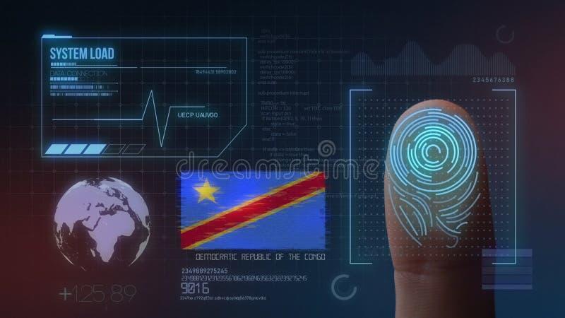 Sistema de identificación de exploración biométrico de la huella dactilar Nacionalidad de República Democrática del Congo foto de archivo