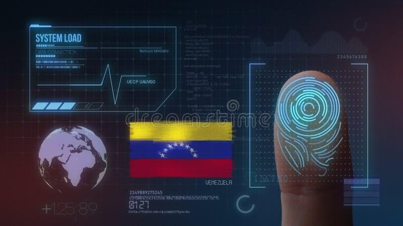 Sistema de identificación de exploración biométrico de la huella dactilar Nacionalidad de Venezuela imagenes de archivo