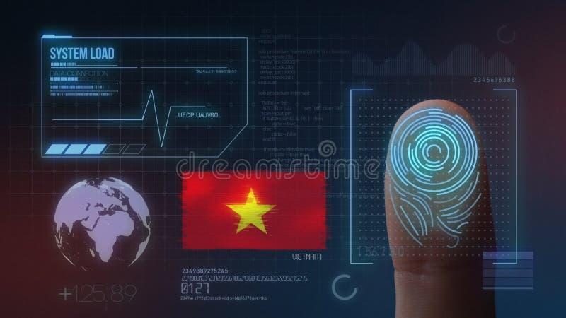 Sistema de identificación de exploración biométrico de la huella dactilar Nacionalidad de Vietnam foto de archivo libre de regalías