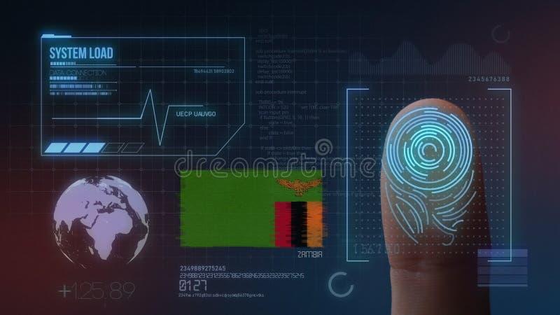 Sistema de identificación de exploración biométrico de la huella dactilar Nacionalidad de Zambia imagen de archivo