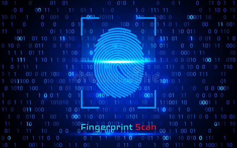 Sistema de identificación de la exploración de la huella dactilar Concepto biométrico de la seguridad de la autorización y del ne ilustración del vector