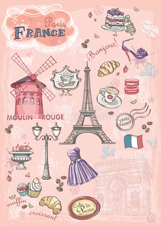 Sistema de imágenes de diversas atracciones, París, Francia stock de ilustración
