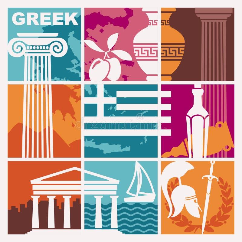 Sistema de imágenes del vector en el tema de Grecia stock de ilustración