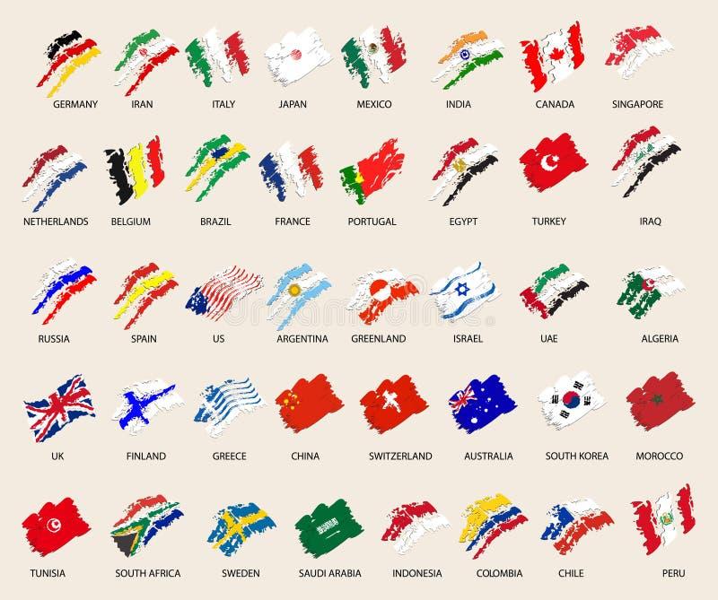Sistema de imágenes estilizadas de 40 banderas Ilustración del vector stock de ilustración