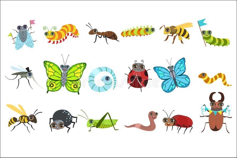 Sistema de im?genes de la historieta del insecto stock de ilustración