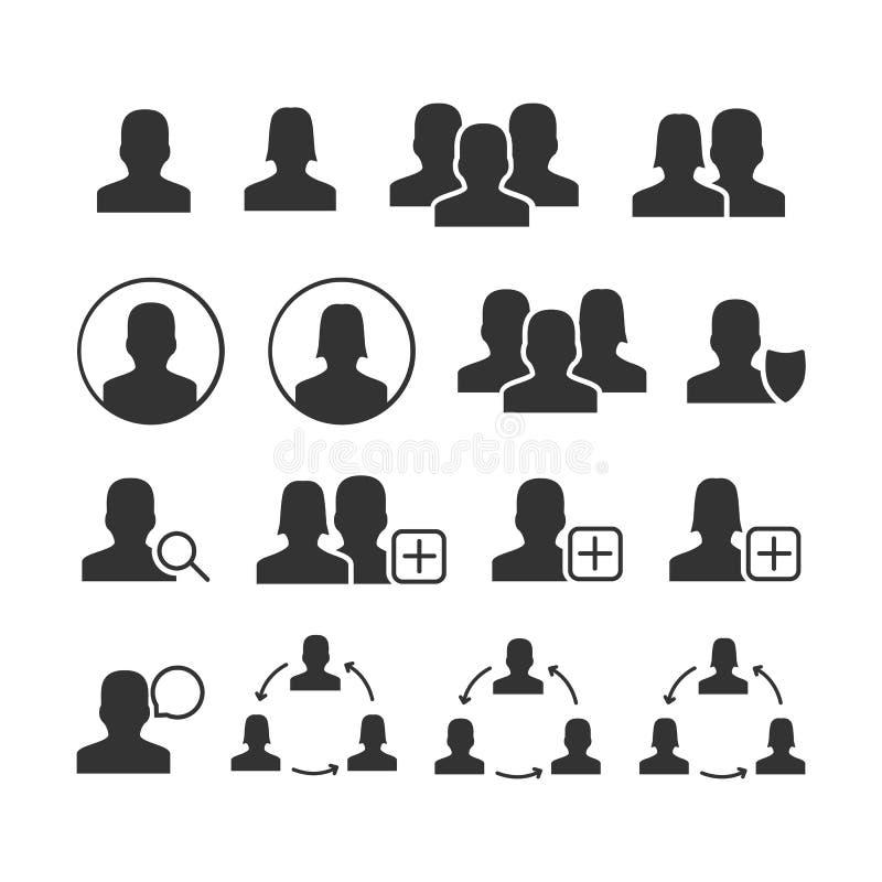 Sistema de imagen del vector de iconos de los usuarios stock de ilustración