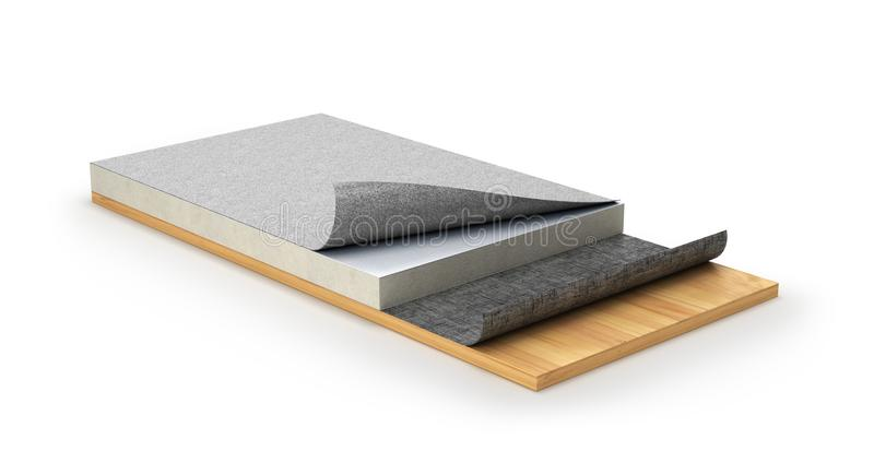 Sistema de impermeabilización del tejado o tejado plano 3d ilustración del vector