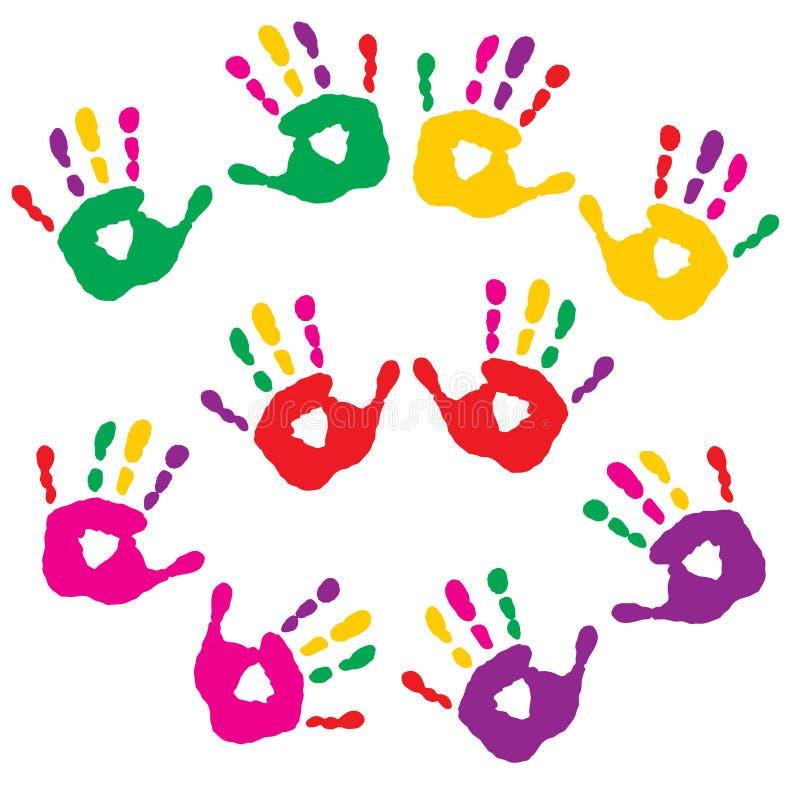 Sistema de impresiones coloridas de palmas libre illustration
