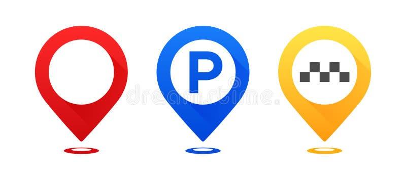 Sistema de indicadores coloridos del mapa Trace el indicador, trace el indicador del estacionamiento, indicador del taxi del mapa libre illustration