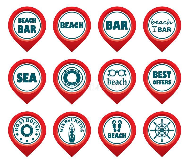 Sistema de indicadores del mapa de la playa libre illustration