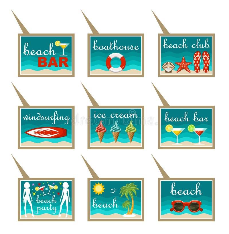 Sistema de indicadores del mapa de la playa stock de ilustración