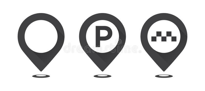 Sistema de indicadores grises del mapa Trace el indicador, trace el indicador del estacionamiento, indicador del taxi del mapa stock de ilustración