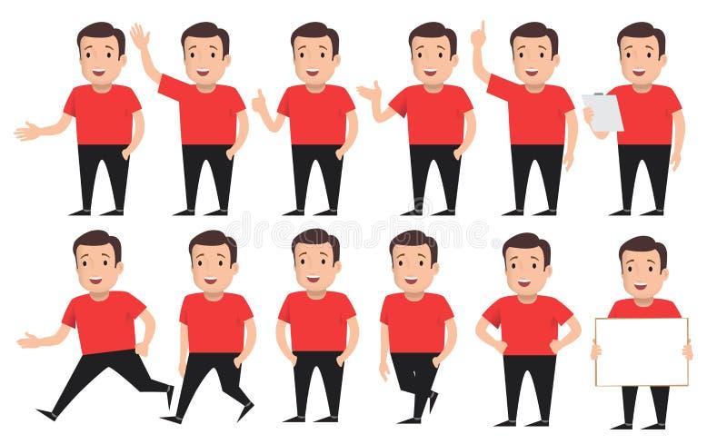 Sistema de individuos en diversas actitudes stock de ilustración