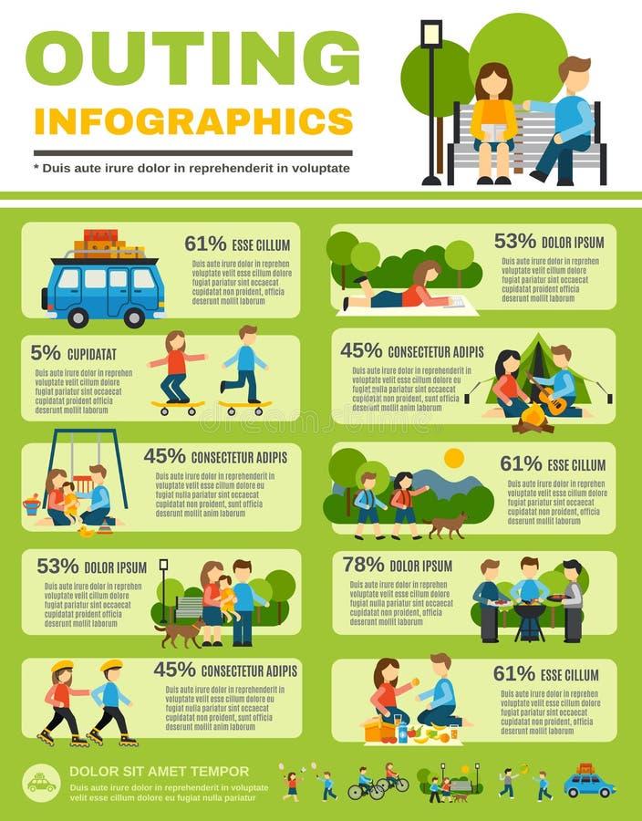 Sistema de Infographics de la excursión stock de ilustración
