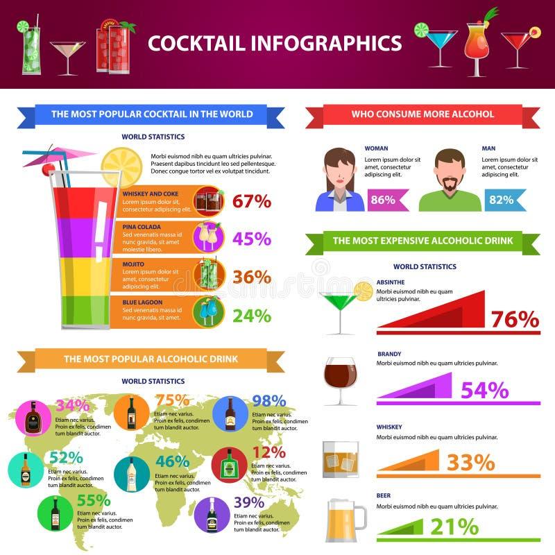 Sistema de Infographics del cóctel stock de ilustración