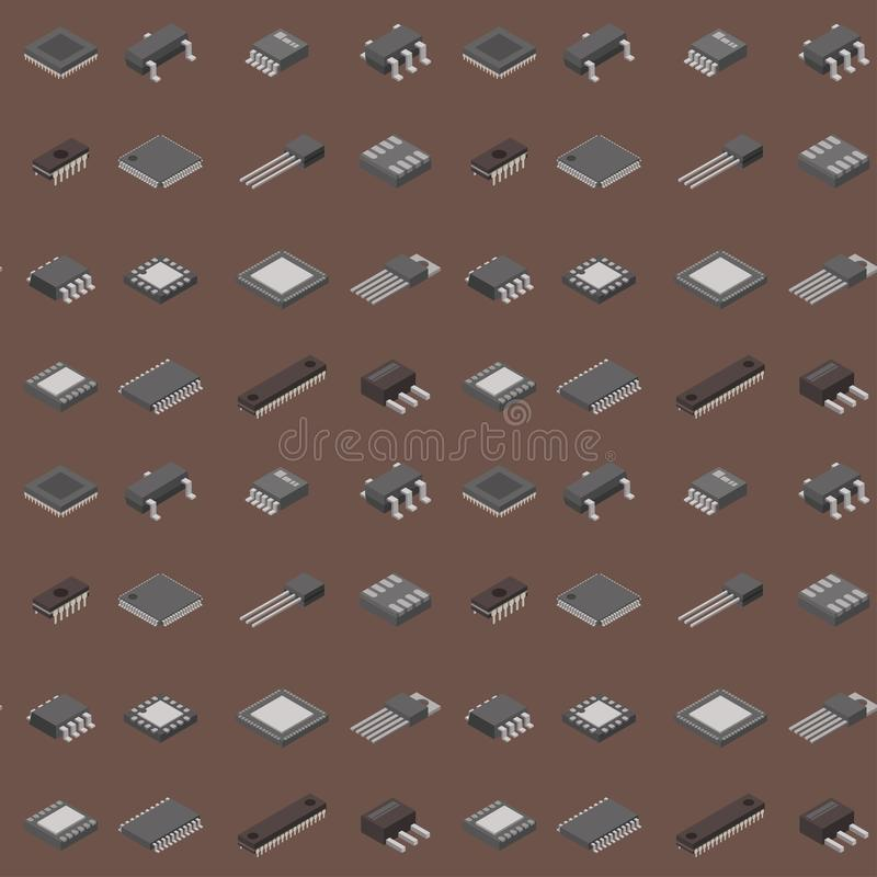 Sistema de información electrónico de la placa madre del tablero del microprocesador del vector del ordenador del microchip de la ilustración del vector