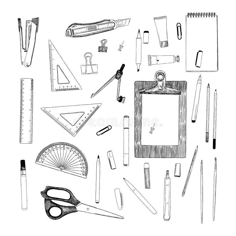 Sistema de inmóvil, vector del bosquejo del elemento del drenaje de la mano Lugar de trabajo stock de ilustración