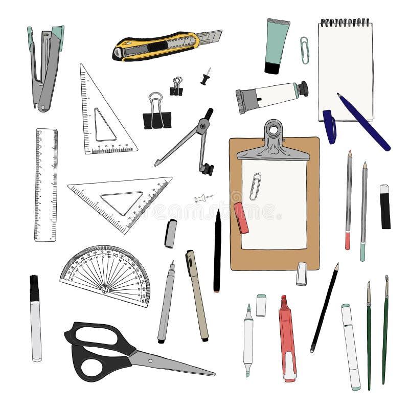 Sistema de inmóvil, vector del bosquejo del elemento del drenaje de la mano Lugar de trabajo ilustración del vector