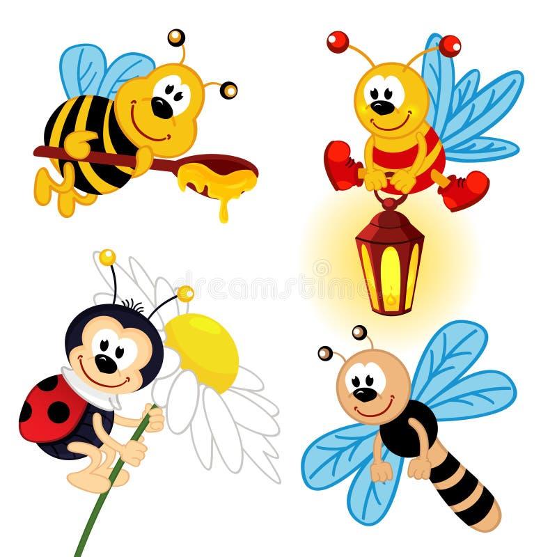 Sistema de insectos del icono ilustración del vector