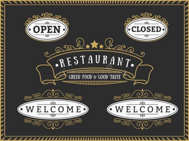 Sistema de insignia y de etiquetas elegantes del restaurante ilustración del vector