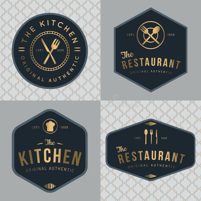 Sistema de insignias, bandera, etiquetas y logotipos para el restaurante de la comida, tienda de comidas y abastecimiento en colo libre illustration