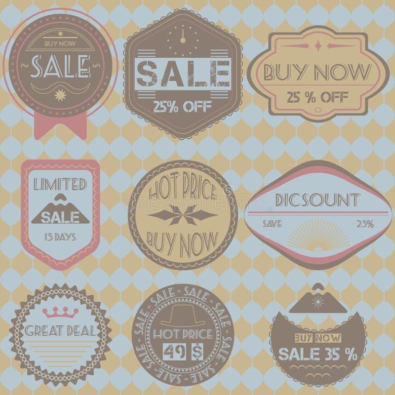 Sistema de insignias, de cintas y de etiquetas retras del vintage del descuento de la venta hola stock de ilustración