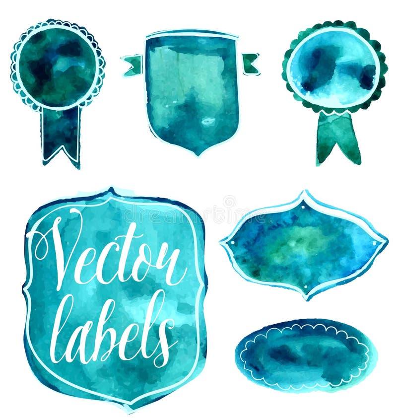 Sistema de insignias de la acuarela y de etiquetas verdes y azules stock de ilustración