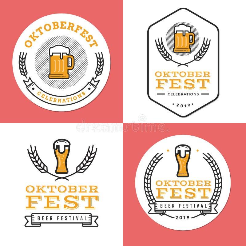 Sistema de insignias, de la bandera, de etiquetas y del logotipo para el festival más oktoberfest, alemán de la cerveza Diseño si stock de ilustración