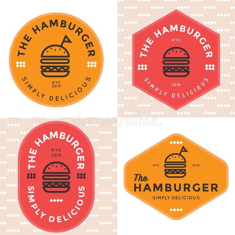 Sistema de insignias, de la bandera, de etiquetas y del logotipo para la hamburguesa, tienda de la hamburguesa Diseño simple y mí stock de ilustración
