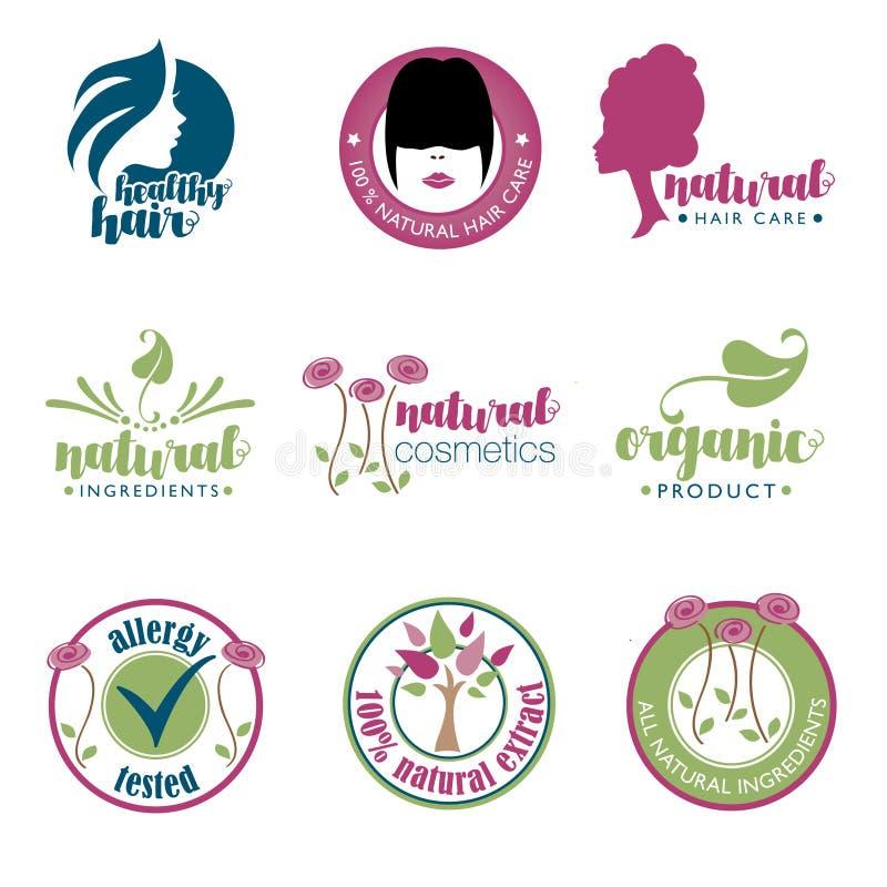Sistema de insignias de la salud y de la belleza stock de ilustración