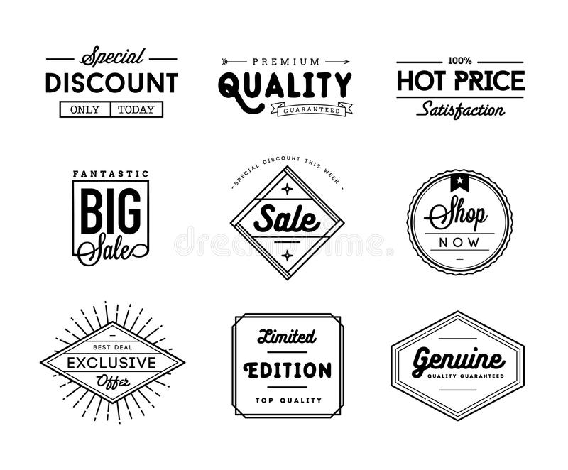 Sistema de insignias de la venta y del comercio del vintage ilustración del vector