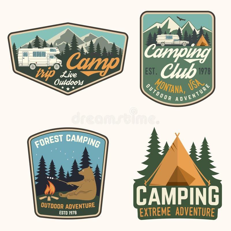 Sistema de insignias del campamento de verano Vector Concepto para la camisa o logotipo, impresión, sello, remiendo o camiseta stock de ilustración