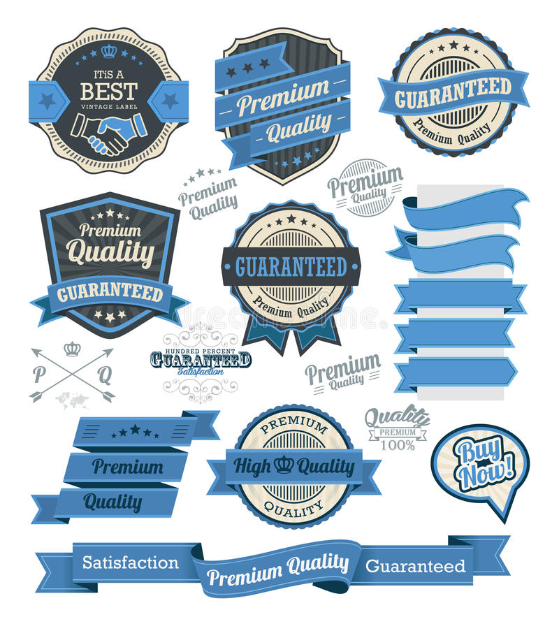 Sistema de insignias del vintage y de elementos del diseño libre illustration