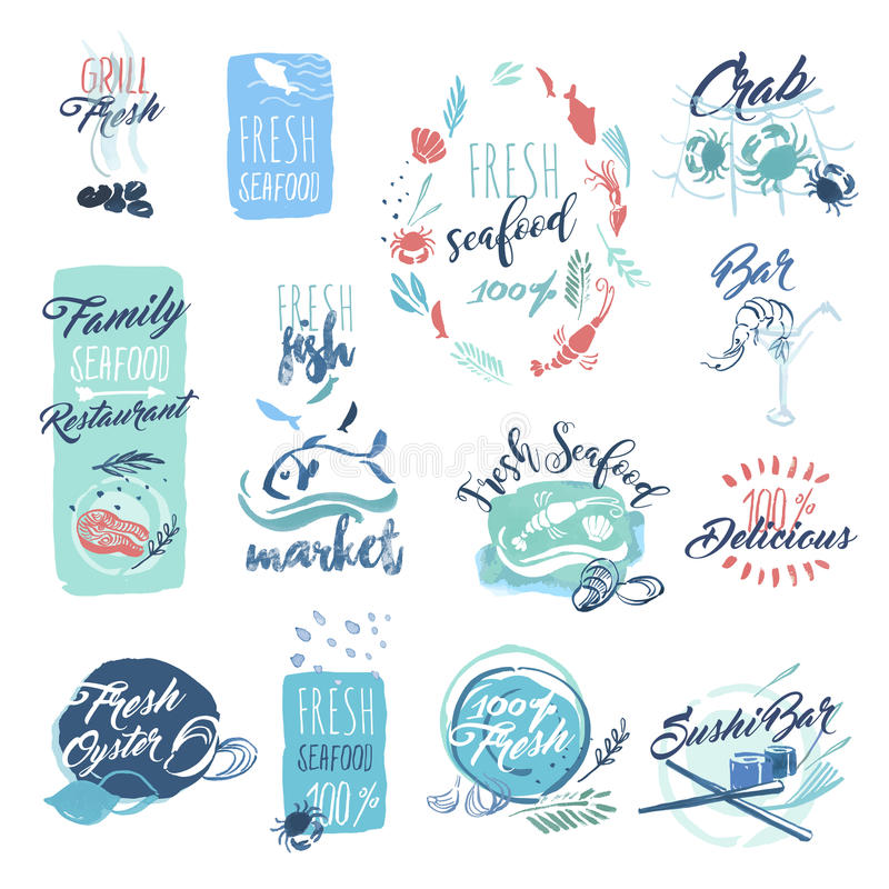 Sistema de insignias dibujadas mano de la acuarela y etiquetas engomadas de los mariscos libre illustration