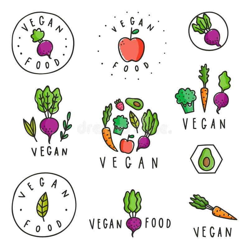 Sistema de insignias de la comida del vegano stock de ilustración