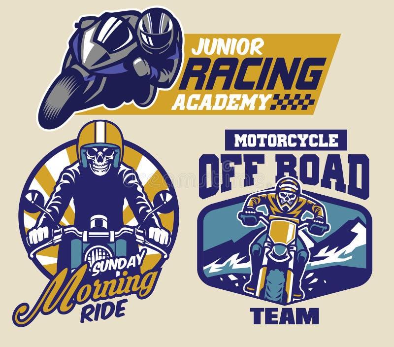 Sistema de insignias de la motocicleta ilustración del vector