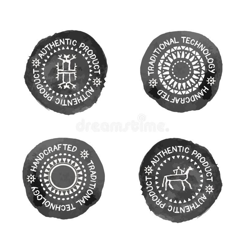 Sistema de 4 insignias para tradicional, el authenti o los productos handcrafted libre illustration