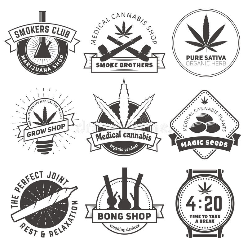Sistema de insignias que fuman de la marijuana del vector fotos de archivo