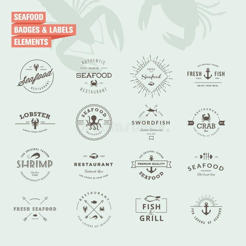 Sistema de insignias y de elementos de las etiquetas para los mariscos libre illustration